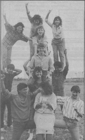 Senior Pyramid - 1986. Roel Resurez, Patsy Garza, Tommy Smith, Cathy McMillan, Edward Marcotte, Pat Kelley, Robin Rocha,